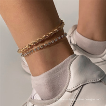 European and American Gold and Silver Multi-Layer Diamond-Studded Twist Chain Set Fashion Jewellery Anklet Bracelet for Women