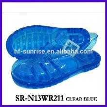 SR-N13WR211- chaussures bleues de gelée blanche sandales en plastique sandales plates claires sandales en gelée en gros