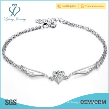 Silberne Knöchel Armbänder für Frauen, Platin Metall Engel Flügel Fußkettchen