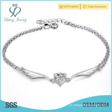 Pulseras de tobillo de plata para las mujeres, tobilleras de ala de ángel de platino metal