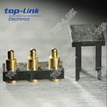 3 pinos SMT Brass Pogo Pin conector com mola carregada banhado a ouro
