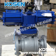 2 Pieces Cast Steel Trunnion Ball Valves with Pneumatic Actuator