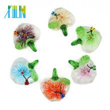 Neues Entwurfs-Brautjunfer-Geschenk-flache runde Lampwork Glas-reale Blumen-Halsketten-Anhänger 12pcs / box, MC0031