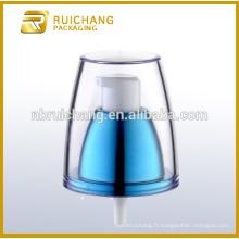 Pompe à lotions en plastique à revêtement UV avec AS overcap / 24mm crème lotion pompe / uv coating lotion pump dispenser
