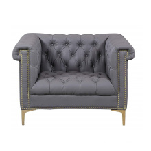 Retro Modern Upholstery Sectional Couches Grey Leather Chesterfield Armchair Sofa for Sale