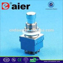 Daier 3PDT verrouillable Interrupteur à pédale plaqué or Interrupteur à pédale