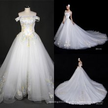 Real fora do vestido de casamento longo do vestido do trem grande bordado do ombro