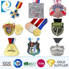 Free Design Cheap Custom Logo Wholesale Zinc Alloy Round Soft Enamel 3D Gold Boxing Race Running Marathon Sports Award Souvenir Metal Medal with Neck Ribbon