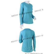 Camisas de manga comprida em torno do pescoço das mulheres