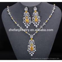 ZheFan conjuntos de joyas nupciales indio por mayor con zirconia cúbica