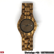 Relojes de cuarzo de fecha de alta calidad de relojes de cebra de madera