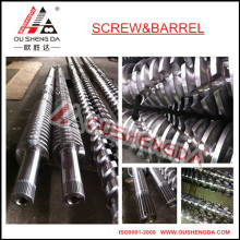 conical twin screw barrel for recycling PET ABS PP sheet