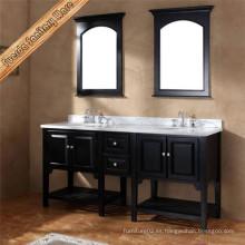 2016 Fregadero doble de madera maciza de tocador de tocador de baño