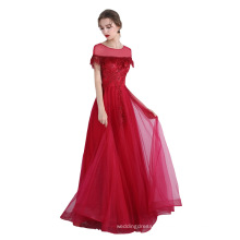2019 New arrival European fashion Delicate Red Feathers Beading Flowers Party Prom Dress Elegant Evening Dress