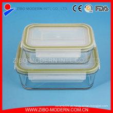Alto, borosilicato, vidro, forno, alimento, Recipientes