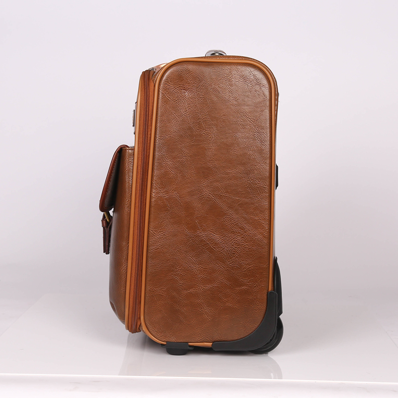 Stock PU leather travel luggage