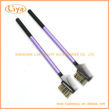 Plastic handle eyelash comb brush with nylon hair