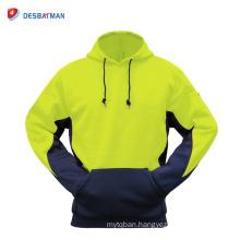 Mens Hi-Vis 2 Toned Fleece Hoodie Hoody Jumper Sweatshirt High Visibility Safety Jacket Winter Wholesale