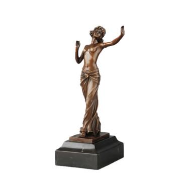 Arte femenino escultura de bronce hecha a mano de la escultura del bailarín de la estatua de cobre TPE-709