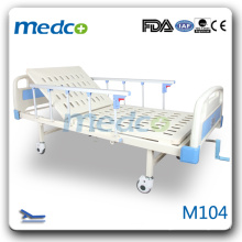 M104 One crank manual patient bed with 4 casters