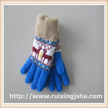lady knitted fleece cuff deer pattern gloves