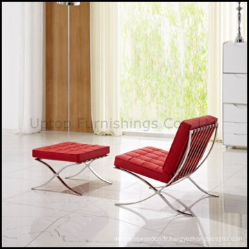 Modern Leisure Leather Lounge Chaise de canapé de Barcelone avec ottoman (SP-HC080)