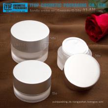 YJ-AM-Serie Creme Acryl Glas mit Aluminium Kappe Klassische Zylinder Form 15-50g Creme Acryl Glas