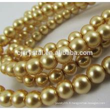 Perles de verre en gros, perles de perles en verre rondes, usine de perles de verre