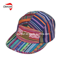 Stripe Leather Label 5 Panel Leisure Hat Cap