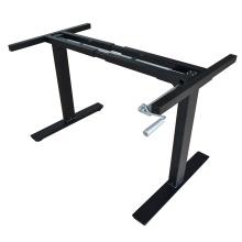 Höhenverstellbarer Bürotischrahmen in 2 Beinen mit höhenverstellbarem Laptop-Tischgestell mit Handkurbel