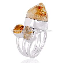 Natürlicher Citrin und Multi Edelstein 925 Sterling Silber Ring
