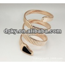 Rose forma de serpente de ouro cirúrgico aço inoxidável pulseiras flexíveis