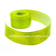 Material reflectante verde amarillo fluorescente para hacer el chaleco de la seguridad