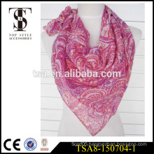 100% polyester scarf silk feel cheap square scarve with unregular pattern