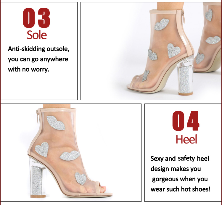 Mesh Fabric beautiful high heel Stiletto sandals