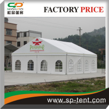 clear span frame permanent tent with glass door and luxury linning