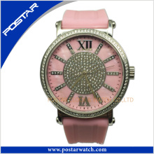 Colorful Stainless Steel Watch with Shiny Powder Dial