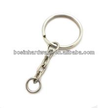 Feito em cadeia de alta qualidade de metal novo anel aberto anel dividido com cadeia