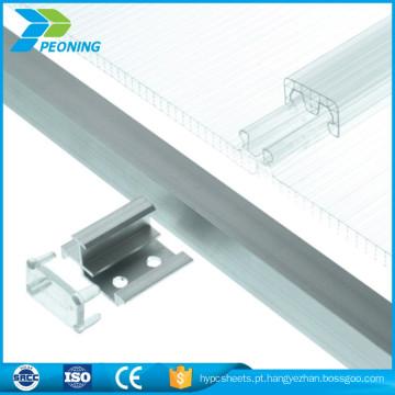 Fácil instalação policarbonato plástico de u-lock Folha do sistema de bloqueio