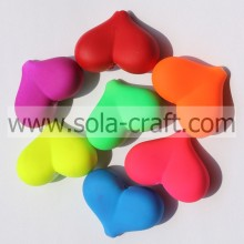 15*27*36MM Rubber Matte Colorful Yiwu Heart Spacer Beads Wholesale