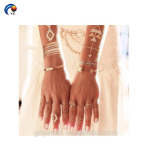 Tatuaje metálico al por mayor de la etiqueta engomada del oro del destello, estilo bling del cuerpo temporal para la novia
