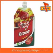 Pochette de ketchup doypack écologique imprimée personnalisée avec bec