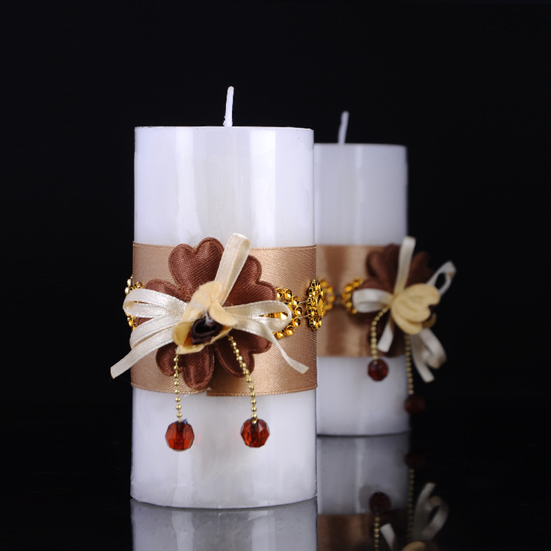 Decorative Paraffin Wax Wedding Favors Pillar Candle 3