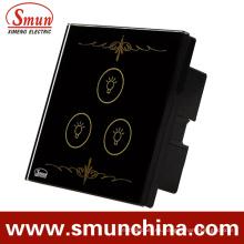 Interruptor dominante de la lámpara de 3 llaves negras para la pared, casero interruptores teledirigidos elegantes