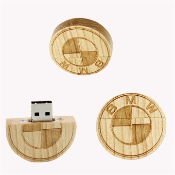 Trending Hot Products Wooden Coin Usb Memory Stick