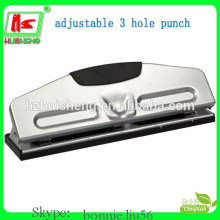 High quality desktop metal three holes adjustable hole punch for office