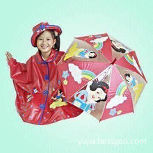 Children's PVC Rain Poncho and 16-inch Umbrella