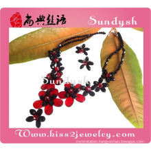 2014 newest fashion crystal elegant victorian faux stone red and black big ladies wholesale costume jewelry sets