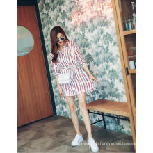 Sommermode V-Ausschnitt Streifen Damen Shirt Kleid