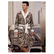 Fashion Men's Tiger Pattern Printed Fleece Bathrobe
